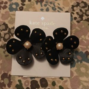 Kate Spade navy leather flower earrings